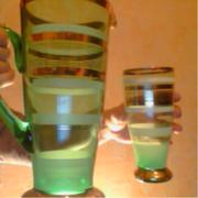 Торжественный набор кувшин и 5 бокалов цветное стекло Польша